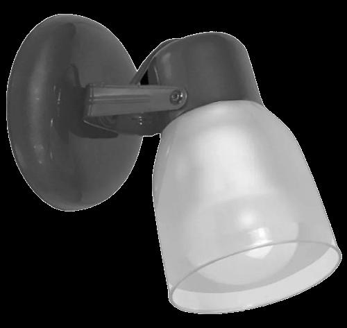 Aplique de 1 luz con base redonda acero, con tulipa de policarbonato - San justo