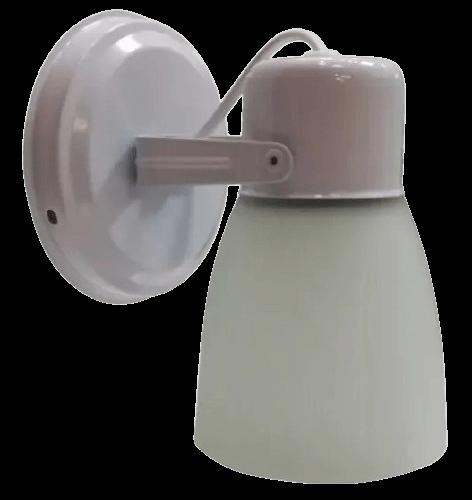 Aplique de 1 luz con base redonda blanco, con tulipa de policarbonato - San justo