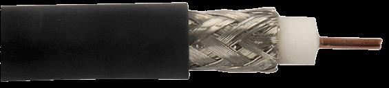 Cable coaxil RG6 negro, con interior expuesto