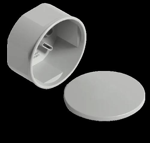 Caja de PVC de derivación redonda gris con tapa - Genrod