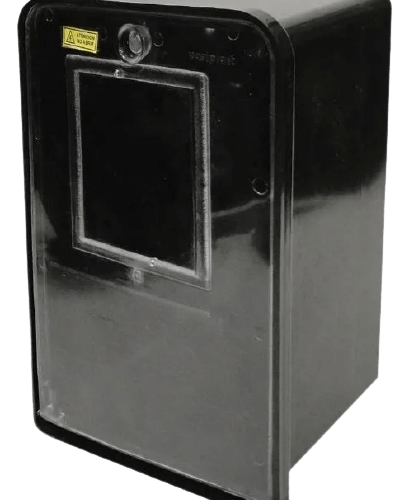 Caja para medidor trifásica, negra con tapa transparente - Variplast