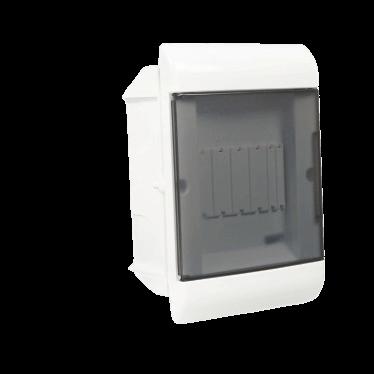 Caja de embutir de PVC para térmicas transparente, de 5 módulos - Steck