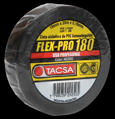 Cinta aisladora PVC 20M flex-pro 180 negra - Tacsa