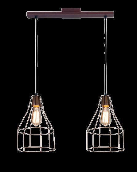 Colgante con 2 luces jaula botella cobre - San Justo