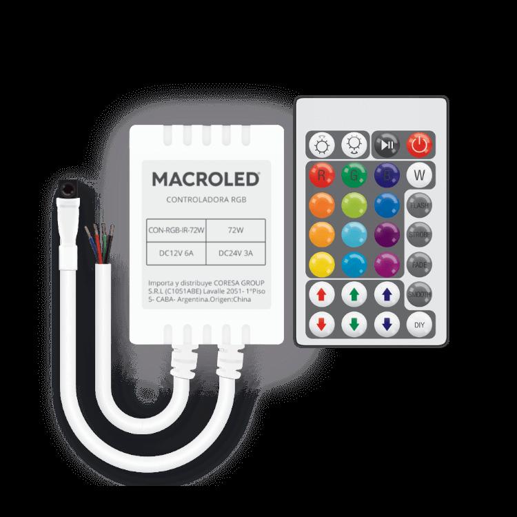 Controlador LED RGB por infrarrojo 72W y control remoto blanco - Macroled