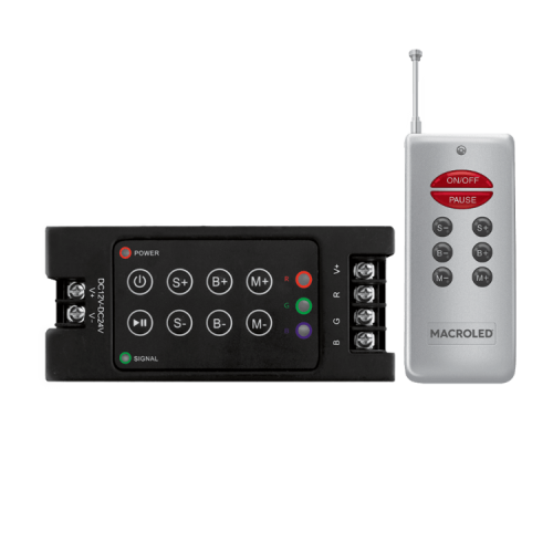 Controlador LED RGB negro por radiofrecuencia 360W y control remoto gris - Macroled