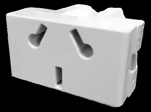Módulo blanco tomacorriente combinado, línea Verona - Jeluz