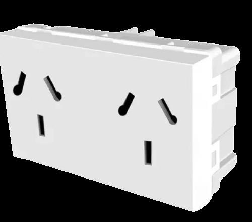 Módulo blanco tomacorriente doble combinado, línea Verona - Jeluz