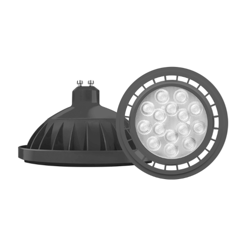 Lámpara LED AR111 11W GU10 PVC negra - Macroled