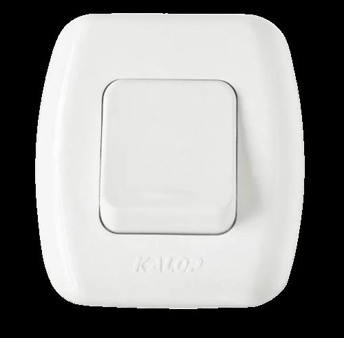 Llave exterior blanca con 1 punto, línea Tekna frente - Kalop