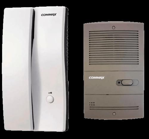 Portero eléctrico gris con un teléfono blanco - Commax