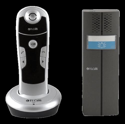 Portero eléctrico gris con 1 teléfono inalámbrico negro - Vicom