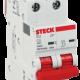 Llave térmica bipolar interruptor rojo, foto perfil - Steck