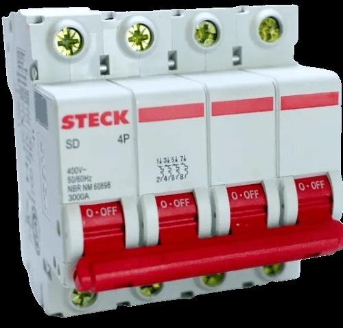 Llave térmica tetrapolar interruptor rojo, foto perfil - Steck