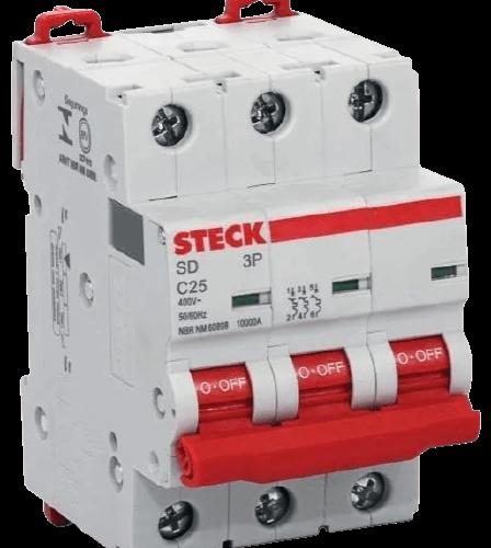Llave térmica tripolar interruptor rojo, foto perfil - Steck