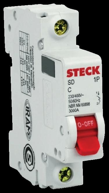 Llave térmica unipolar interruptor rojo, foto perfil - Steck