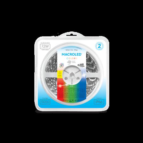 Blister de tira LED luz RGB 5050 IP66 14.4W - Macroled