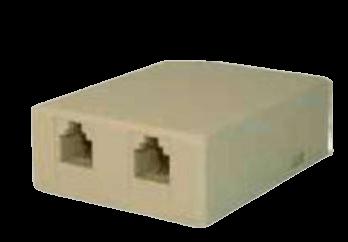 Toma exterior para RJ11 telefónica doble autoadhesiva