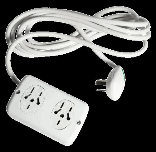 Zapatilla de 2 tomas multinorma con cable y llave térmica - Kalop
