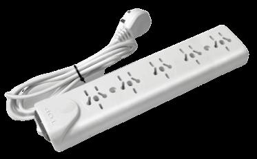Zapatilla de 5 tomas multinorma con cable y llave térmica - TAAD