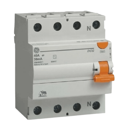 Interruptor diferencial disyuntor tetrapolar AC 30mA línea DMS interruptor naranja - General Electric