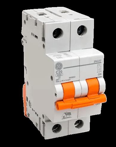 Térmica bipolar 3kA curva C foto frontal interruptor naranja - General Electric