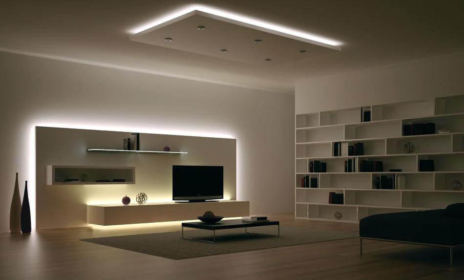 Iluminación tiras LED luz fría sala de estar